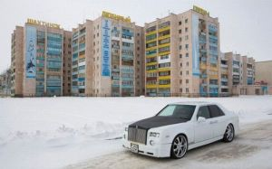 A car mechanic drives his home-made replica of the Rolls-Royce Phantom in Shakhtinsk town