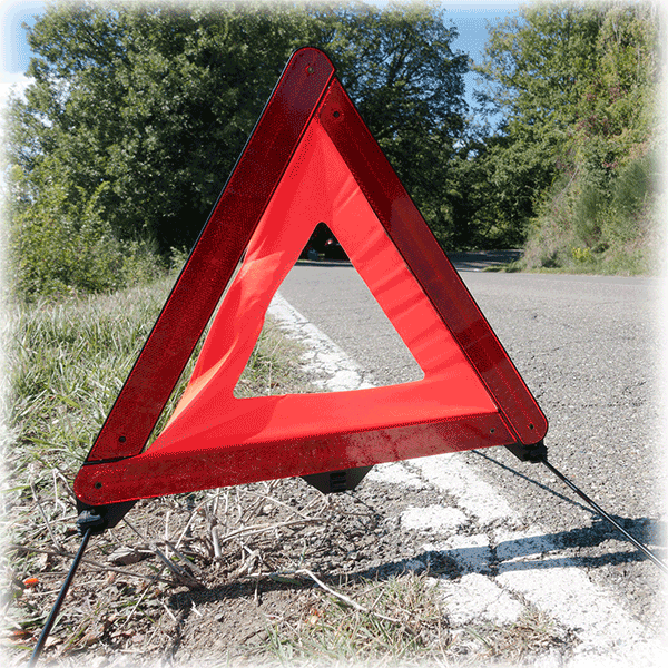 Breakdown triangle on road
