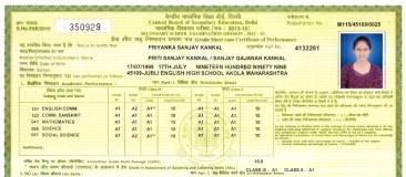 Mark sheet of Priyanka