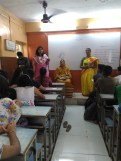 Madam shares her experience with students
