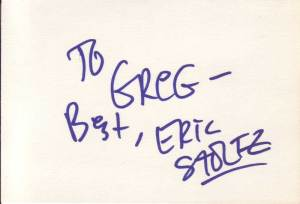 Eric Stoltz in-person autographed index card