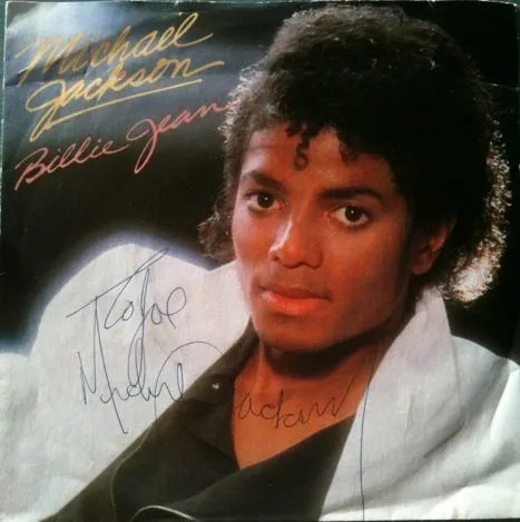 "Michael Jackson Autograph Billie Jean Single from ""Thriller"""