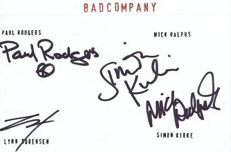 Bad Company autograph Paul Rodgers Simon Kirke and Mick Ralphs
