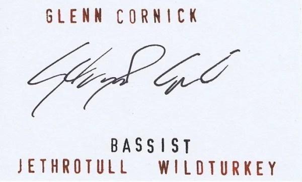 Glenn Cornick Autograph Jethro Tull and Wild Turkey
