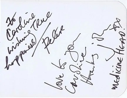Medicine Head autographs by Peter Hope-Evans and John Fiddler