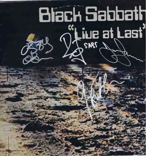 Black Sabbath Autographed Live At Last Lp w/Ozzy Osbourne