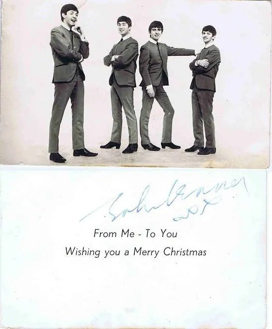 John Lennon The Beatles Autograph Christmas Card