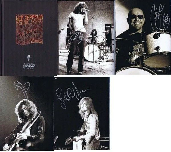 Led Zeppelin Autograph Ahmet Ertegun 2007 Programme Jimmy Page, Robert Plant, John Paul Jones, Jason Bonham