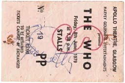 Roger Daltrey The Who Autograph concert ticket 1979 Glasgow