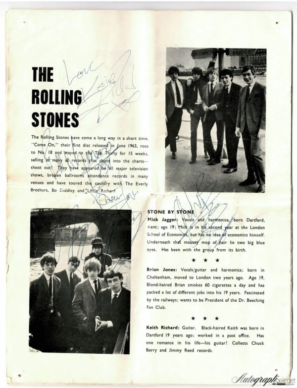 The Rolling Stones signed tour programme 1964 autographs