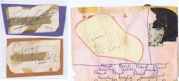 The Beatles Autographs for sale George Harrison Paul McCartney
