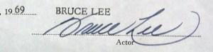 Bruce Lee Autograph contract Jan 1969