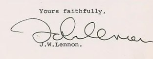 John Lennon 1972 signed document