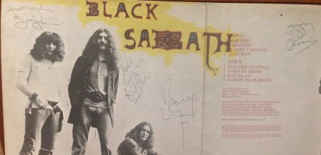Black Sabbath autographs - ozzy osbourne, tony iommi, geezer butler and bill ward.