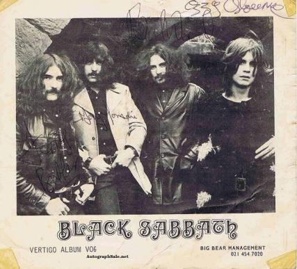 Black Sabbath autographs - ozzy osbourne, tony iommi, geezer butler and bill ward.