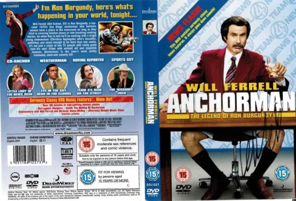 Will Ferrell Autograph Anchorman DVD Cover