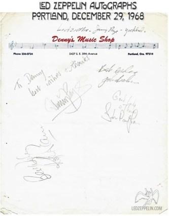 Led Zeppelin autographs 1968-12-29-portland-autographs