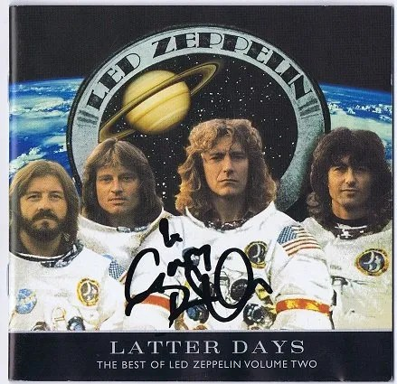 Robert Plant signed Led Zeppelin Latter days CD Cover