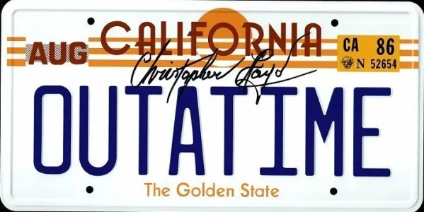 Christopher Lloyd signed OUTATIME Number plate | Back to the Future licence