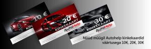 AutoHelp kinkekaart 30€, 20€, 10€