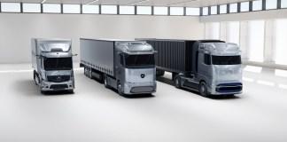 Mercedes-Benz eActros, Mercedes-Benz eActros LongHaul und Mercedes-Benz GenH2 TruckMercedes-Benz eActros, Mercedes-Benz eActros LongHaul and Mercedes-Benz GenH2 Truck