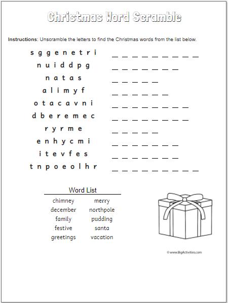 Christmas Gift-hard-word scramble