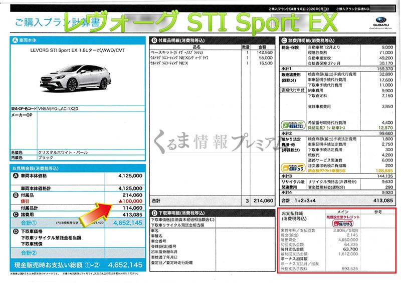 レヴォーグ STI Sport EX見積書