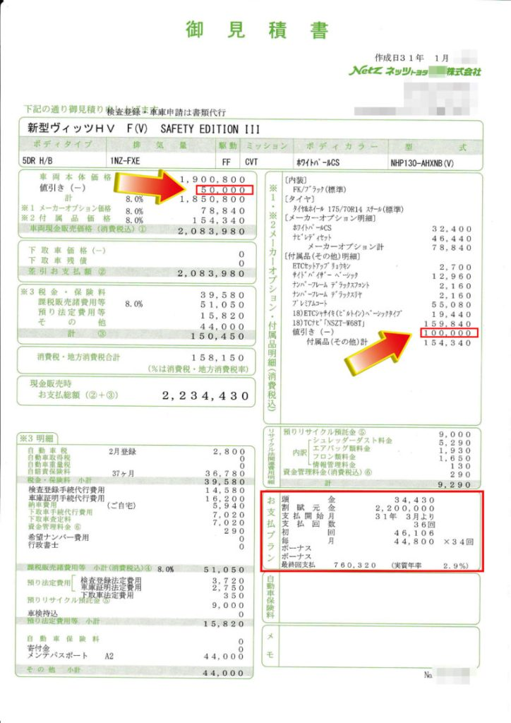 """ヴィッツHYBRID F""""Safety EditionⅢ""""の値引き額は?"""