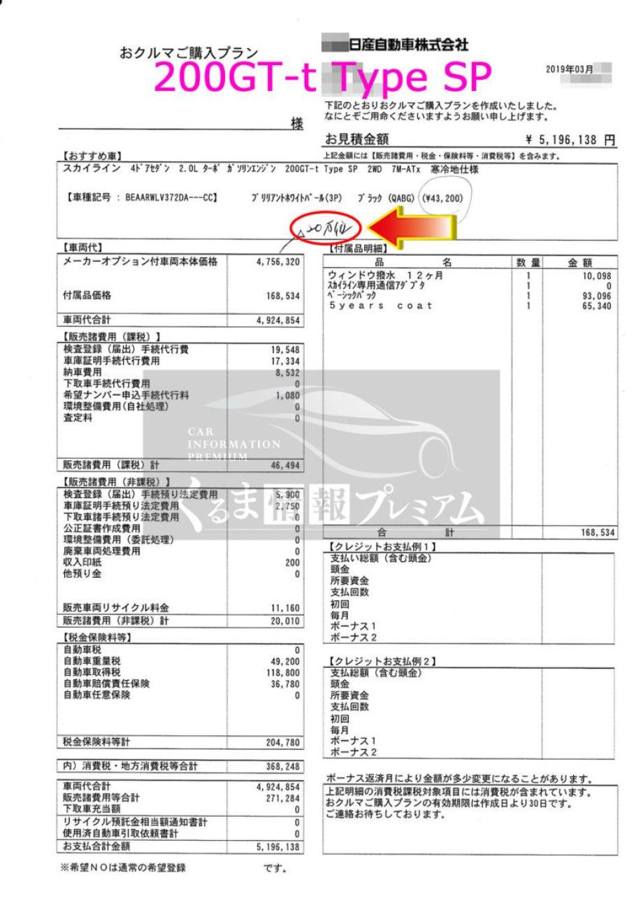 スカイライン 200GT-t Type SPの値引き額は?