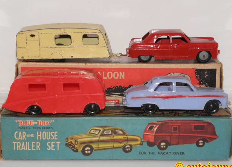 Car and House Trailer Set Blue-Box