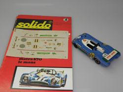 la vainqueur du Mans 1973 avec le guide Solido et la planche de décoration