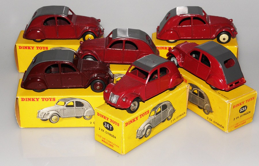 Dinky Toys Citroën 2cv essai de couleur et modèles de basse