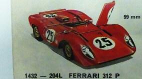 extrait de catalogue Dinky Toys Ferrari 312P avec portes ouvrantes