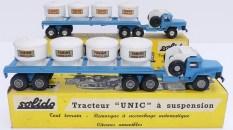 "Solido Unic Sahara tracteurs semi remorque avec cuves ""farine transport en vrac"" avec jantes en plastique et en acier"