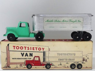 "Tootsietoys Mack""L"" semi remorque remorque tôlé ""Middle States Motor freight"""