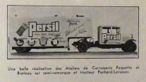 publicité Paquette et Breteau avec Panhard semi remorque Persil