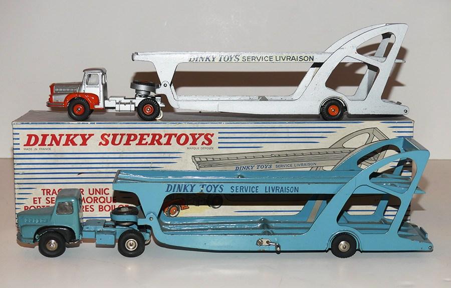 Dinky Toys Unic tracteurs semi remorque porte autos (prototype et modèle de série) avec vitrage
