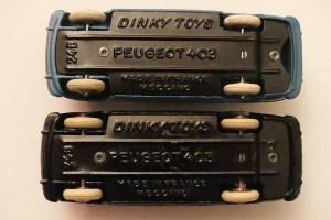 Dinky Toys Peugeot 403 chassis ou non évidé
