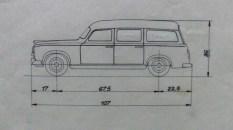 """Dinky Toys plan de la Peugeot 403 """"limousine commerciale"""""""