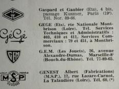 GG =Gaspard Gaubier adresse dans le registre national des fabricants de jouets