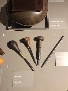 outils pour la gravure: burins