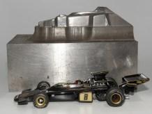 emprunte d'enfonçage de la Lotus 72 de Safir Champion (jamais réalisée) avec Lotus 72 JPS de chez Minichamps