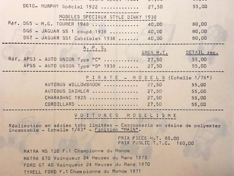 "tarif Modelisme pour les modèles ""Modélisme Evrat"" distribuées en 1973 boulevard Sebastopol"