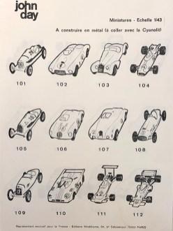 Liste des kits métal John Day en 1973 distribué par Modelisme
