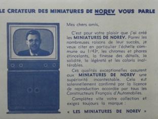 publicité Norev vantant la finition de ses modèles