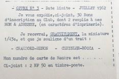 Norev extrait du courrier envoyé au nouveau membre: offre nr 3