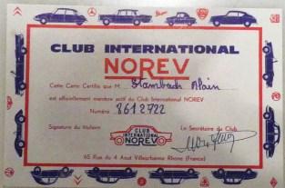 Norev certificat offert avec l'adhésion au club Norev