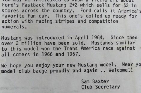 """Corgi Toys la lettre du """"boss"""" expliquant les exploits de la Ford Mustnag qui était dans le """"tube"""""""