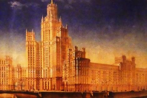 """Dmitri Tchetchouline """"gratte-ciel résidentiel sur le quai Kotelnitcheskaïa, vue perspective depuis la Moskova à Moscou """" 1947"""