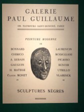 "catalogue de la galerie Paul Guillaume ""Scultures nègres"""